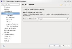 Doxygen settings in Eclipse