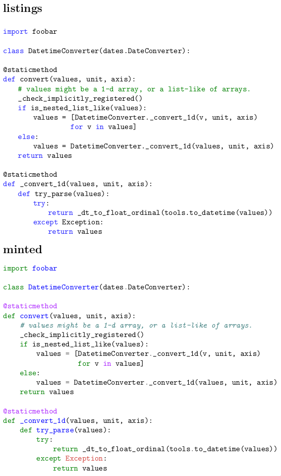 Comparison of listings and minted for highlighting Python code